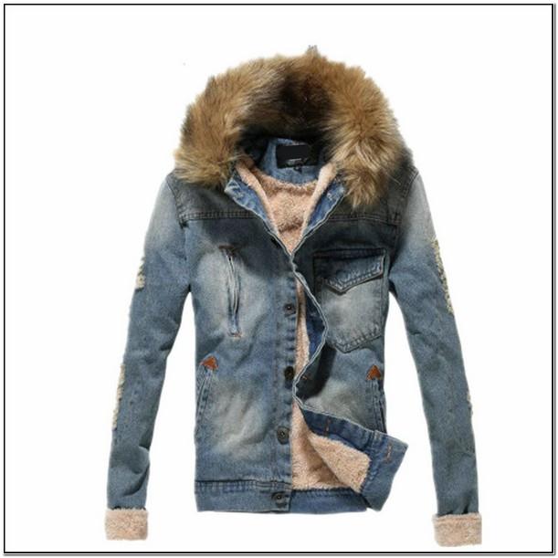 Mens Denim Jacket With Fur Collar
