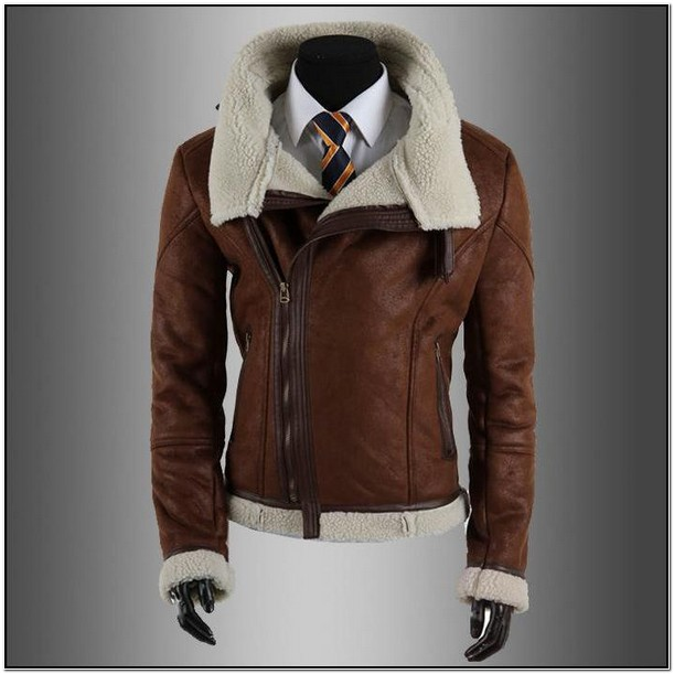 Mens Faux Leather Jacket With Fur Collar