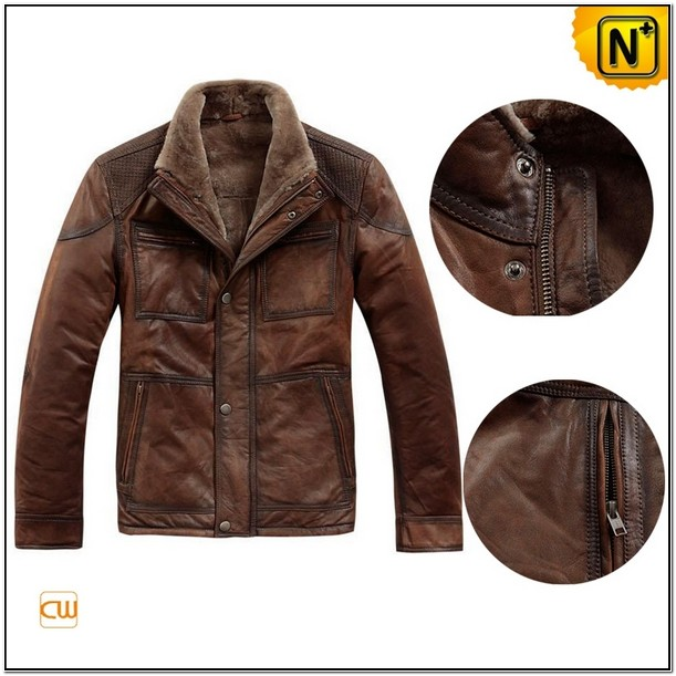 Mens Fur Lined Brown Leather Jacket