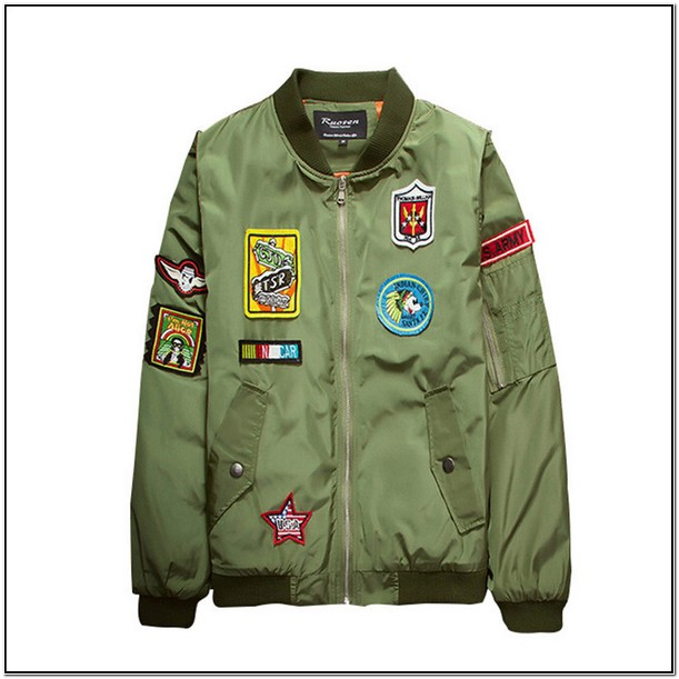 Mens Green Bomber Jacket With Patches