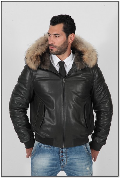 Mens Leather Bomber Jacket With Fur Hood