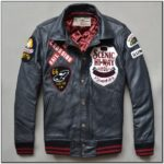 Mens Leather Bomber Jacket With Patches