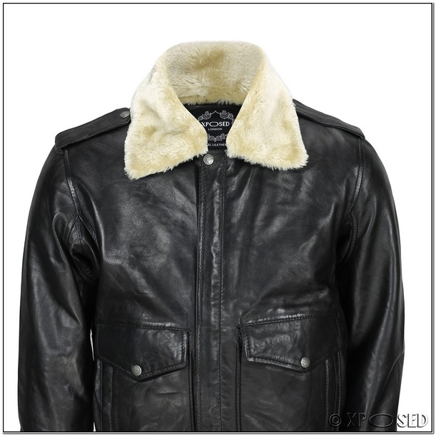 Mens Leather Flight Jacket With Fur Collar