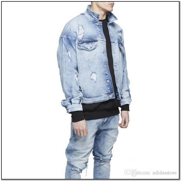 Mens Light Wash Distressed Denim Jacket
