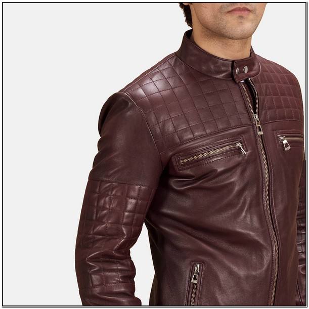 Mens Maroon Leather Biker Jacket