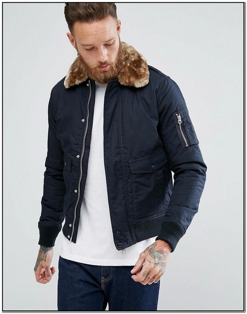 Mens Navy Bomber Jacket With Fur Collar