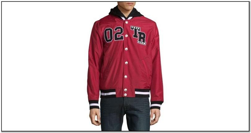 Mens Red True Religion Varsity Jacket
