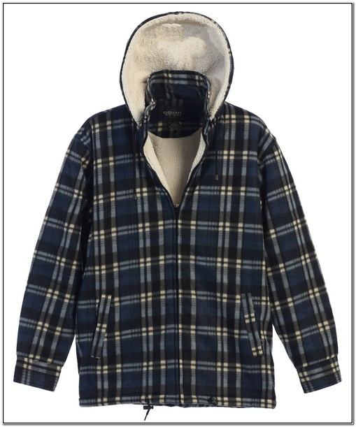 Mens Sherpa Lined Flannel Jacket With Removable Hood