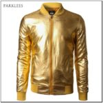 Metallic Gold Bomber Jacket Mens