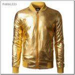 Metallic Gold Bomber Jacket Mens