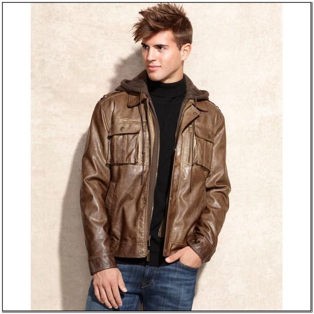 Michael Kors Leather Hooded Jacket Mens