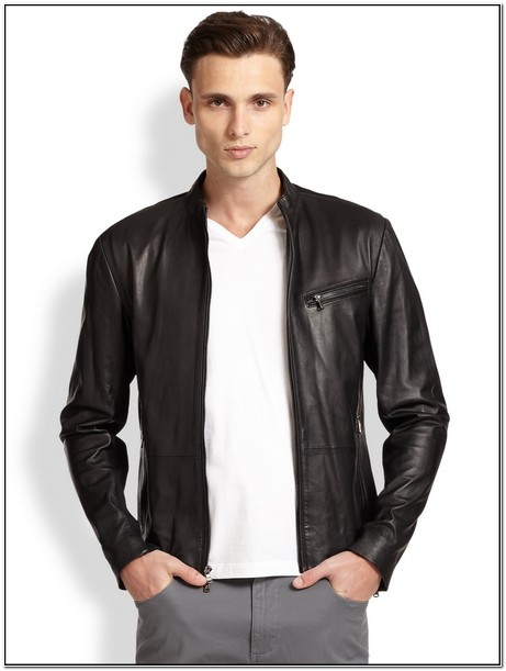 Michael Kors Leather Moto Jacket Mens
