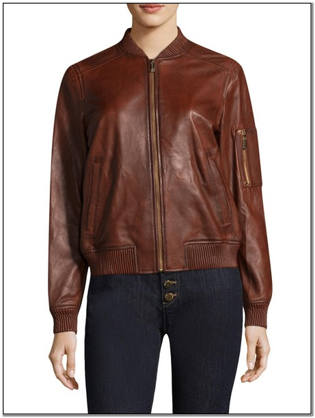 Michael Kors Womens Brown Leather Aviator Jacket