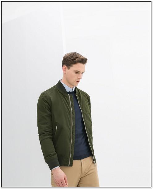 Olive Green Bomber Jacket Mens Zara