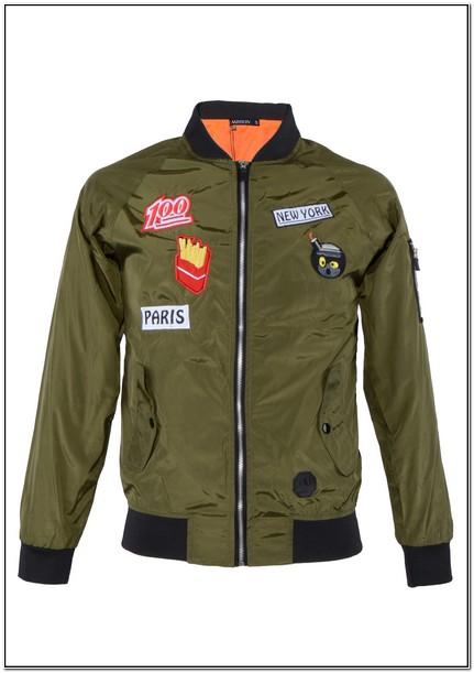 Olive Green Bomber Jacket With Orange Inside Mens