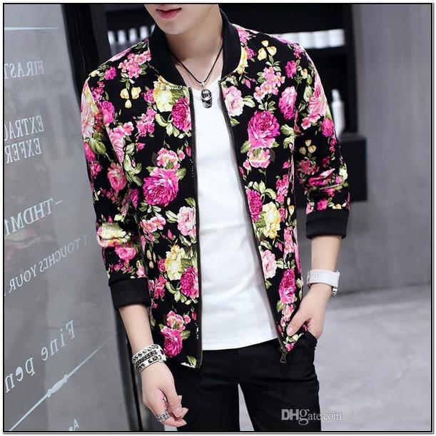 Pink Floral Bomber Jacket Mens