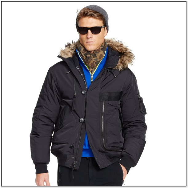 Polo Jacket With Fur Hood