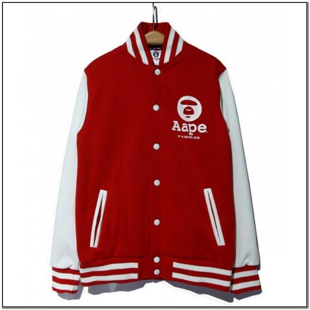 Red Bape Letterman Jacket