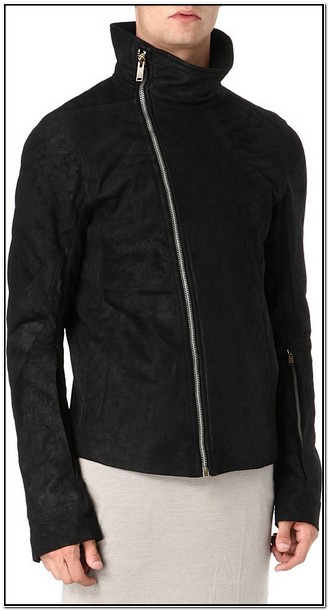 Rick Owens Asymmetric Leather Jacket Mens