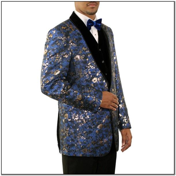 Royal Blue And Gold Tuxedo Jacket