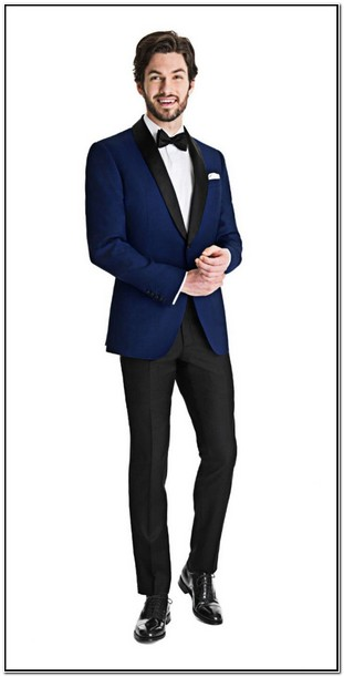 Royal Blue Dinner Jacket With Black Tuxedo Pants