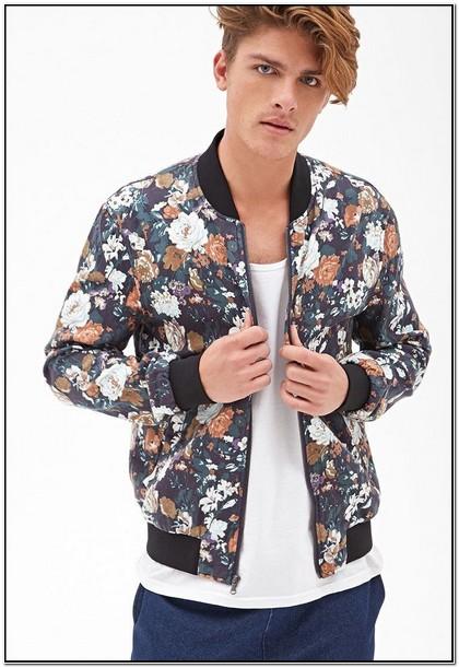 Satin Floral Bomber Jacket Mens