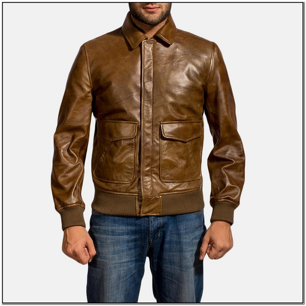 Tan Leather Bomber Jacket Mens