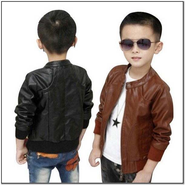 Toddler Boy Brown Leather Jacket