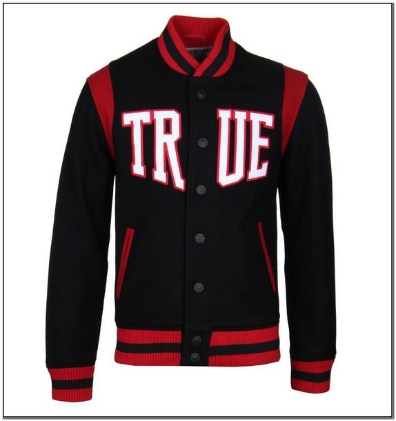 True Religion Black & Ruby Red Wool Varsity Jacket