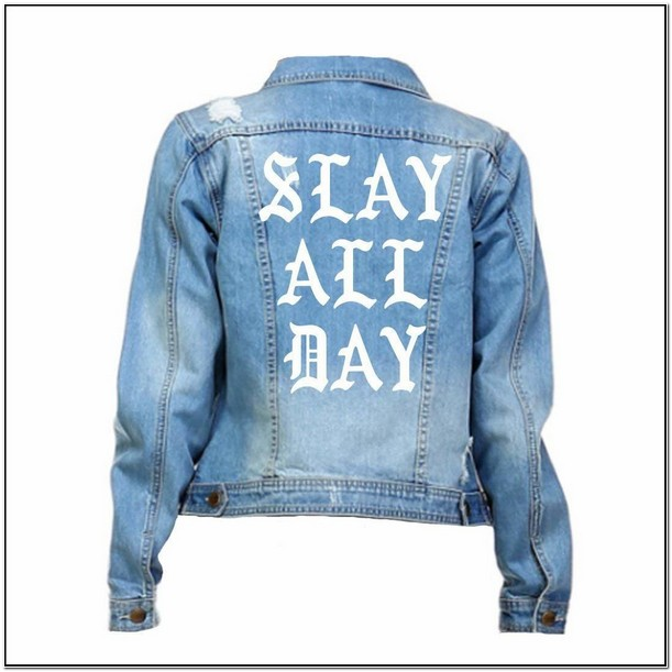 Wake Pray Slay Denim Jacket Amazon
