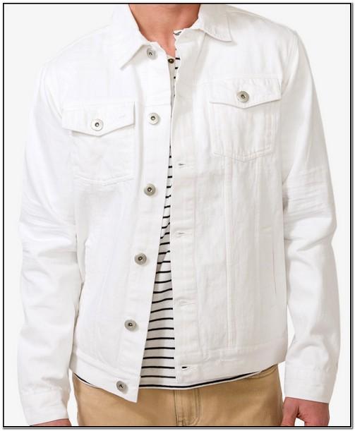 White Distressed Denim Jacket Mens