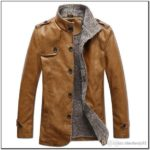 Winter Warm Mens Fur Lined Lapel Coat Pu Leather Jacket