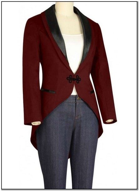 Womens Red Tuxedo Jacket With Tails
