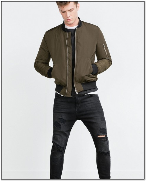 Zara Bomber Jacket Mens Green